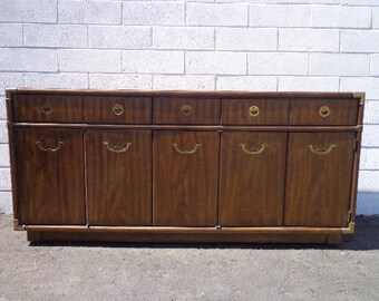 Drexel Accolade Campaign Dresser Chest Drawers Bureau Buffet Sideboard Console Chinoiserie Brass Storage Regency Boho CUSTOM PAINT AVAILABLE