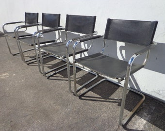 4 Dining Chairs Cantilevered Italian Chrome Leather Boho Chic Bohemian Milo Baughman Inspired Mid Century Modern Vintage Seating Regency