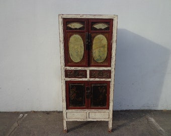 Antique Cabinet Rustic Asian Chinoiserie Curio Hutch Carved Wood Display Case Shabby Chic Furniture Vintage Storage Bookcase Armoire