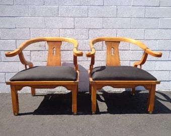 Pair of Chairs Ming James Mont Century Chinese Chippendale Regency Armchair Horseshoe Chinoiserie Seating Mid Century CUSTOM PAINT AVAIL