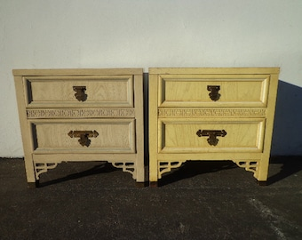 Pair of Nightstands Dixie Shangri La Faux Bamboo Bedside Tables Bohemian Boho Chic Chinoiserie Campaign Hollywood Regency CUSTOM PAINT AVAIL