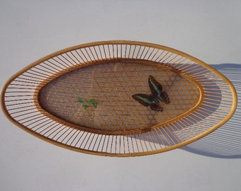 Mid Century Modern Basket Resin Weave Modernism Bowl Vintage Serving Garnish Tray Dish Barware Appetizer Dining Kitchen Utensil Butterfly