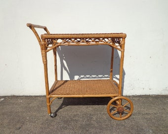 Bar Cart Bamboo Rattan Wicker Bohemian Boho Chic Tea Mid Century Vintage Serving Server Storage Retro Table Portable Liquor Wine Spirits