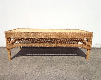 Wicker Coffee Table Vintage Rattan Boho Chic Peacock Hollywood Regency Chinese Chippendale Chinoiserie Bamboo Miami Mid Century Bentwood
