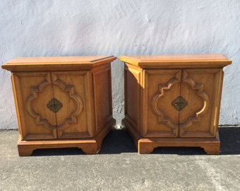 Pair of Nightstands Bedside Tables Heritage Wood Accent End Side Table Hollywood Regency Bohemian Boho Chic Chinoiserie CUSTOM PAINT AVAIL