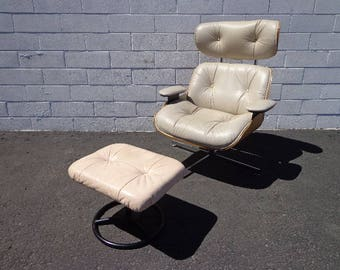 Mid Century Modern MCM Eames Inspired Lounge Chair Armchair Ottoman  Footrest Seating Vintage Furniture Plycraft Bentwood Style Recliner MCM