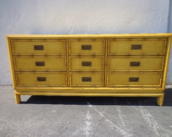 Dresser Faux Bamboo Bedroom Media Console Chest Drawers Storage Regency Chinoiserie Boho Chic Campaign Mid Century Table CUSTOM PAINT AVAIL