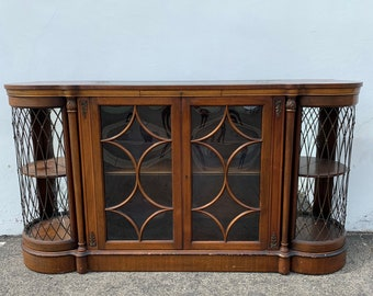 Gorgeous Antique Sideboard Credenza Curio Hutch Buffet Leather Italian Neoclassical Bar Storage Console Display Case Dining Vintage Wood