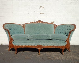 Antique Victorian Sofa Loveseat Settee French Provincial Photo Shoot Shabby Chic Seating Carved Wood Seating Vintage Furniture Chaise Lounge