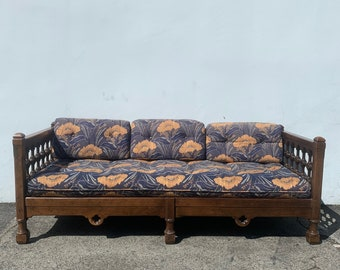Chesterfield Sofa Antique Drexel Fabric Mid Century Modern Couch Moroccan Lounge Seating Settee Bohemian Boho Chic Style Design Carved Wood