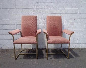 2 Dining Chairs Milo Baughman DIA Brass Mid Century Modern MCM Hollywood Regency Pink Boho Chic Vintage Set of Chair Seating Armchair Design