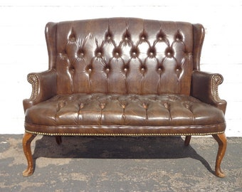 Leather Sofa Loveseat Settee Bench Wingback Tufted Armchair Chesterfield Handsome Rustic Chippendale Mid Century English Lounge Seating