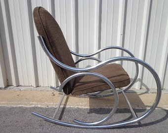Mid Century Modern Chrome Bentwood Inspired Rocker Armchair Rocking Chair MCM Milo Baughman Inspired armchair midcentury chair Nursery
