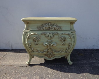 French Nightstand Beside Table Provincial Bombe Rococo Baroque Chest Storage Furniture Console Bedroom Shabby Chic Green CUSTOM PAINT AVAIL