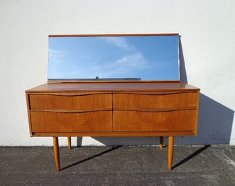 Dresser Mid Century Modern Vanity Danish Mirror TV Media Console Furniture Cabinet Buffet Server Bar Storage Eames Teak Credenza Bar Cart