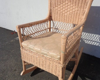 Rocking Chair Antique Woven Wicker Rocker Armchair Glider Seating Pink Rattan Shabby Chic Coastal Country French midcentury chair Nursery