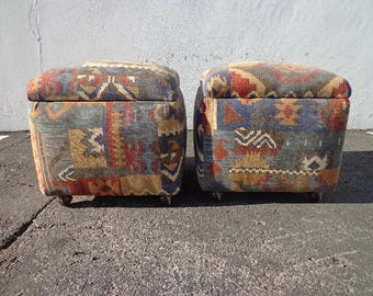 2 Ottomans Footstool Storage Hassock Tables Mid Century Modern Footrests MCM Danish Coffee Accent Denmark Bohemian Boho Chic Ottoman Bench