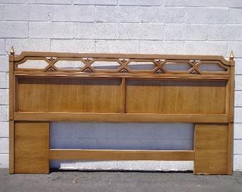 Headboard Mid Century Modern Bed King Hollywood Regency Frame Wood Finish Bedroom Set Boho Chic Glam MCM Furniture Panel CUSTOM PAINT Avail