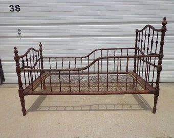 Antique Wood Baby Crib Shabby Chic Daybed Day Bed Settee Loveseat Primitive Rustic Cottage Coastal Photo Prop Distressed Victorian Retro