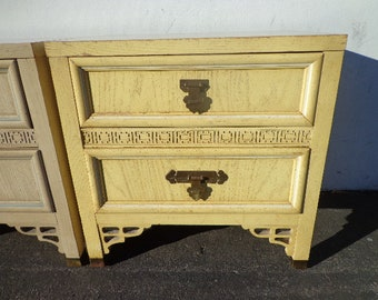 Vintage Nightstand Dixie Shangri La Faux Bamboo Bedside Table Bohemian Boho Chic Chinoiserie Campaign Hollywood Regency CUSTOM PAINT AVAIL