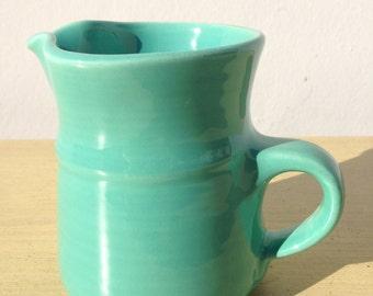Pitcher Mid Century Modern Fiesta Style Milk Cream Decor Turquoise Blue Glass MCM Mod Vintage Serving Houseware Tea Glassware China Retro