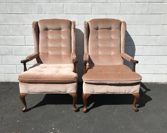 Pair of Chairs Vintage Hollywood Regency High Wing Back Cane Head of Table Custom Wingback Seating Accent Lounge Captains Seat Furniture