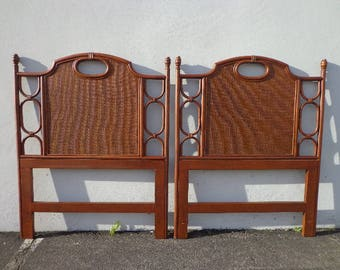 2 Headboards Vintage Wicker Rattan Twin Peacock Sunshine Single Bed Beachy Woven Wicker Chinoiserie Boho Chic Bohemian Eclectic Faux Bamboo