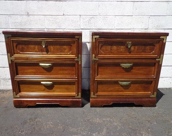 Pair of Nightstands Bachelor Chests Bedside Tables Asian Pagoda Chinoiserie Boho Chic Media Console Storage Gold Brass CUSTOM PAINT AVAIL