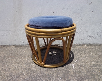 Rattan Stool Bentwood Bamboo Paul Frankl Ottoman Footrest Rattan Hassock Wood Vintage Seating Mid Century Furniture Bohemian Boho Chic