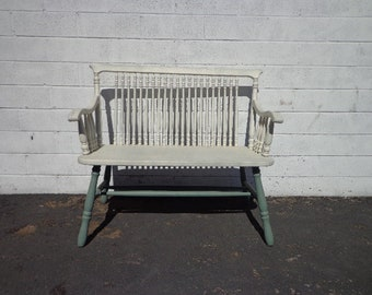 Bench Loveseat Antique Solid Wood Deacon Seating Country French Chair Dining Room Reception Wedding Entry Way Shabby Chic CUSTOM PAINT AVAIL