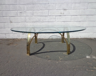 Gold Brass Coffee Table Hollywood Regency  Milo Baughman Style Glass Accent Mid Century Modern MCM End Side Boho Ring Vintage Living Room