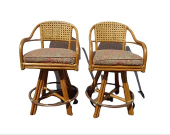 Bar Stools Set Rattan Swivel Bohemian Boho Chic Pair Dining Chair Vintage Seating Mid Century Modern Vintage Furniture Bamboo Tropical Style
