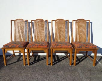 Dining Chairs Ming Chinese Cane Wood Century Chippendale Chic Hollywood Regency Seating Coastal Chinoiserie Miami Seating Mid Century Boho
