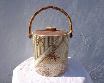 Ice Bucket Faux Bamboo Mid Century Modern Barware Bar Decor Hollywood Regency Mod Vintage Serving Bohemian Boho Chic Tropical Vintage Retro