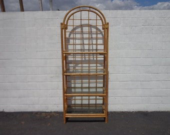 Bookcase Wicker Rattan Woven Jute Etagere Shelves Book Case Display Shelf Shelves Storage Regency Miami Tropical Beach Style Rattan Bamboo