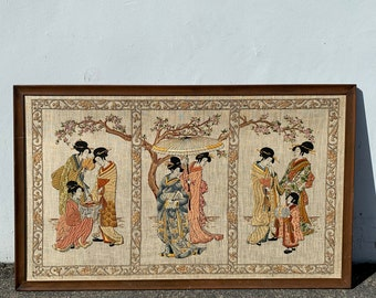 Antique Needlepoint Framed Wall Art Pat Zitomer Hand Stitched Textile Crewel Embroidery Hand Sewn Asian Japanese Design Oriental Ukoyo-e