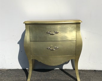 French Provincial Nightstand Dresser Table Bombe Gold Gilt Bachelor Chest Neoclassical Furniture Bedroom Shabby Chic CUSTOM PAINT AVAIL