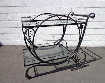 Tea Cart Patio Set Bar Salterini Party Decor Outdoor Pool Furniture Lounge Mid Century Modern Wrought Iron Balcony Garden Antique Woodard