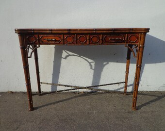 Wood Sofa Table Theodore Alexander Console Faux Bamboo Chinoiserie Chinese Chippendale Chic Entry Way Furniture Vintage Living Room TV Stand