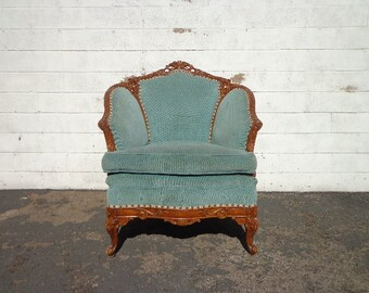 Antique Chair Victorian Armchair Lounger Carved Wood Photoshoot Seating Vintage Retro Hollywood Regency French Provincial Formal Seat Glam