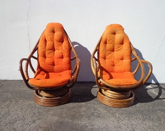 Pair of Chairs Rattan Swivel Rocker Rocking Chair Vintage Bohemian Boho Chic Beach Armchair Bentwood Faux Bamboo Furniture Accent Seating