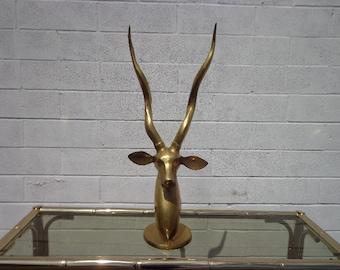 Brass Decor Antelope Gazelle Statue Mid Century Sculpture Hollywood Regency Figurine Bohemian Chic Boho Bronze Gold Antique Ibex Collectible