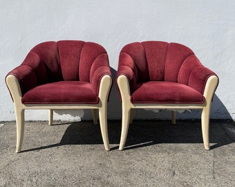 2 Vintage Chairs Scalloped Wood Tub Barrel Back Mid Century Modern Milo Baughman Style Armchair Regency Vintage Seating Tufted Vinyl MCM