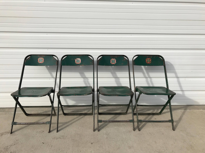 Folding Chairs Set Metal Vintage Antique Dfw Waiting Room