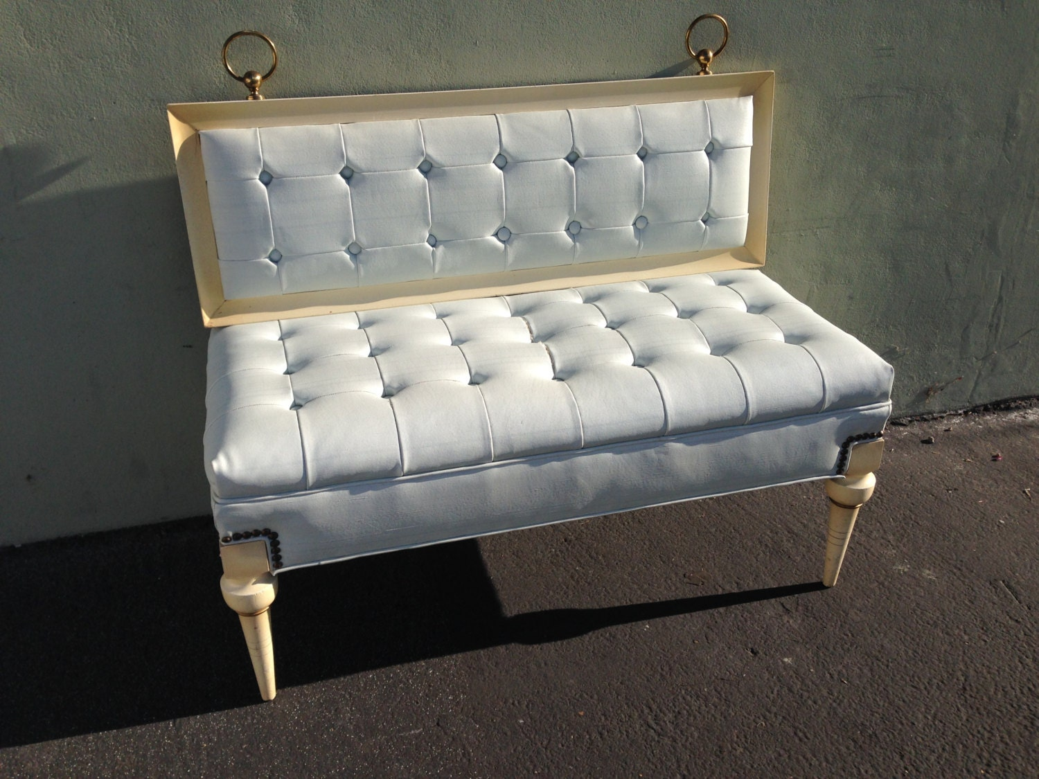2pc Headboard Bench Hollywood Glam Regency French Provincial Wall Twin Bed Tufted Upholstered Boudoir Vanity Victorian Decor Single Chic