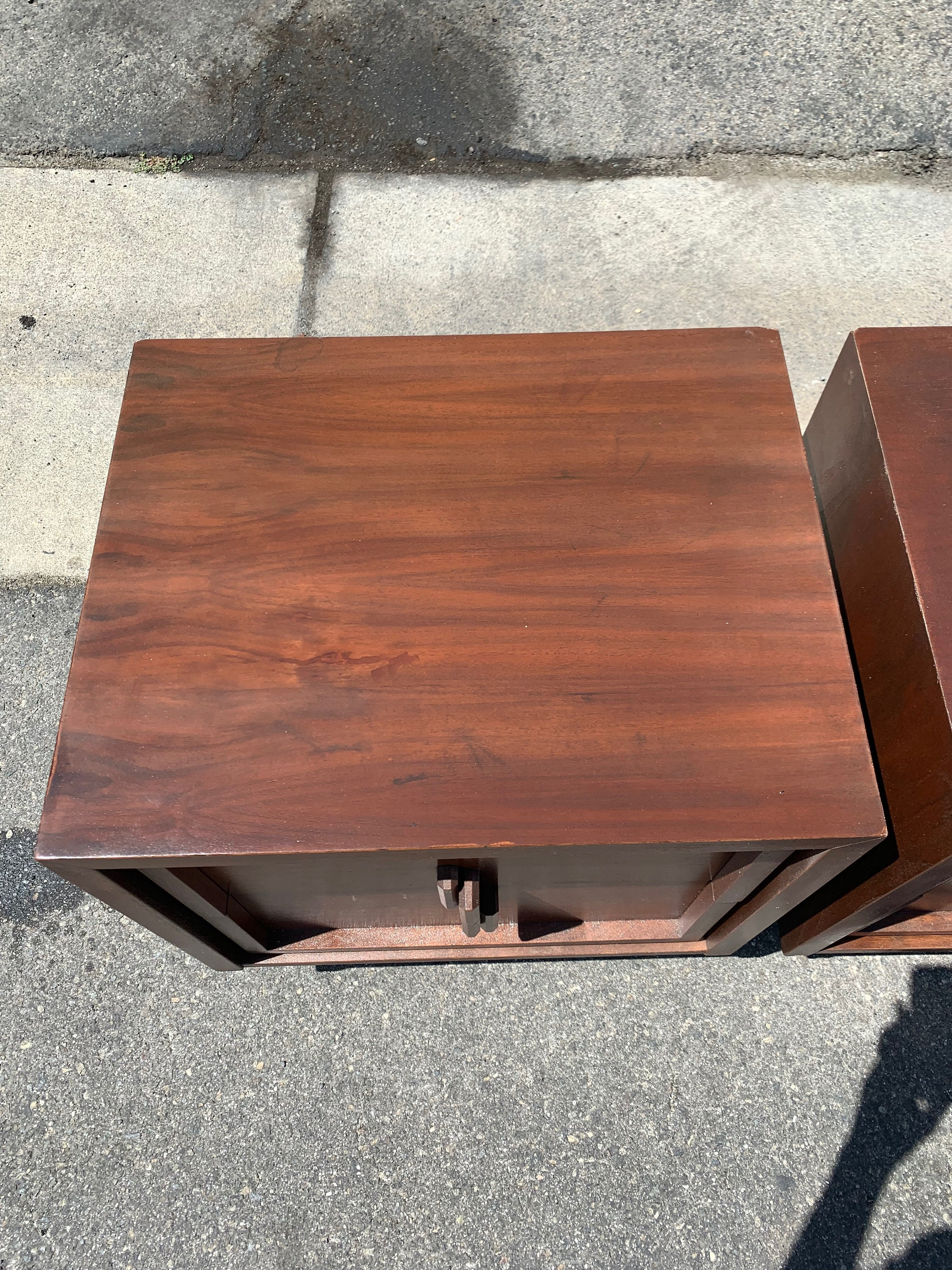 Retro Style Container Bedside Table: Pair Of Brutalist Nightstands Mid Century Modern Bedside