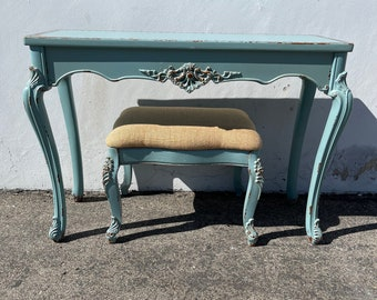 2pc Antique Desk French Provincial Queen Anne Writing Table Bench Regency Vanity Shabby Chic Makeup Table Laptop Stand CUSTOM PAINT AVAIL