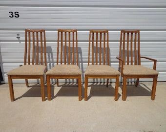 4 Vintage Dining Chairs Wood Kitchen Seating Mid Century Modern Danish Inspired Hollywood Regency Modern Vintage Retro Burl Wood Style