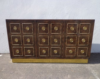 Vintage Mastercraft Credenza Buffet Console Sideboard Burl Brass Gold Storage Hutch Hollywood Regency Glam Mid Century Dining TV Cabinet