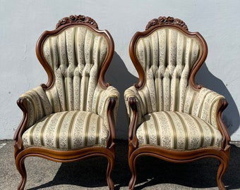 Pair of Antique Chairs Victorian French Provincial Boudoir Vanity Seating Armchairs Glam Shabby Chic Carved Wood Fabric Regency Bench Seat